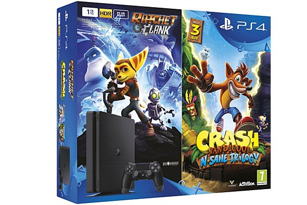 PLAYSTATION 4 500GB SLIM Black + Crash Bandicoot a Ratchet & Clank