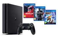 PLAYSTATION 4 1TB SLIM Black + Uncharted 4,DriveClub,Ratchet&Clank