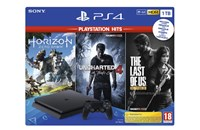 PLAYSTATION 4 1TB SLIM Black + Horizon Zero Dawn, Uncharted 4, The Las