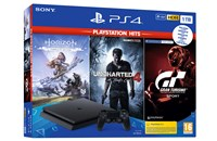 PLAYSTATION 4 1TB SLIM Black + GT Sport, Horizon Zero Dawn, Uncharted