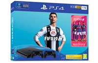 PLAYSTATION 4 1TB SLIM Black + FIFA 19 + 2x Dualshock